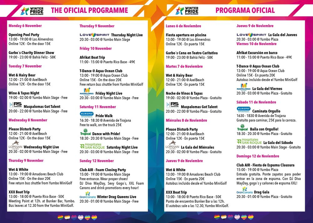 Maspalomas Winter Pride 2017 - The Program